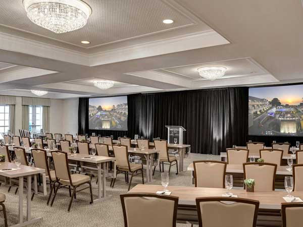 Platinum Ballroom set up classroom style for an event