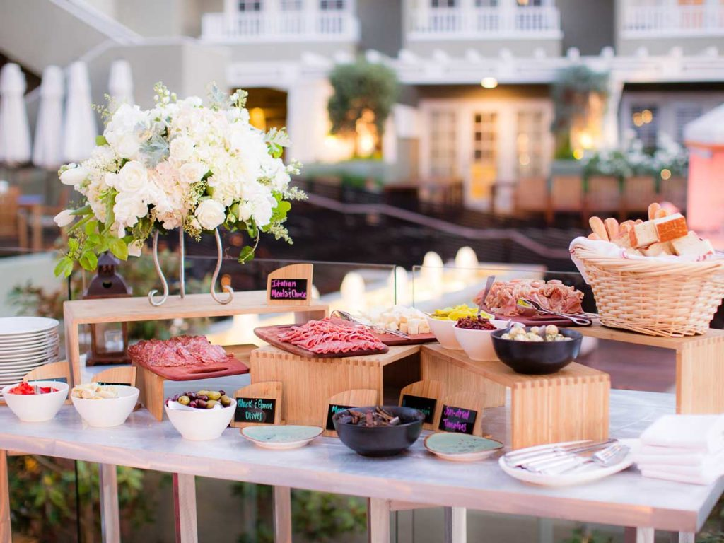 Meat and cheese plates at L'Auberge Del Mar event